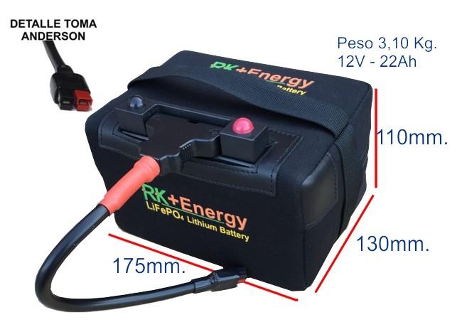 BATERÍA DE LITIO RK+Energy 12V. 22Ah. SIN CARGADOR