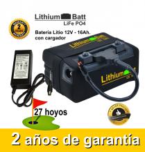 BATERÍA DE LITIO LITHIUM-BATT 12V. 16Ah. CON CARGADOR
