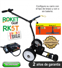 Carro de golf eléctrico ROKET RK5T con batería de Litio 16Ah.
